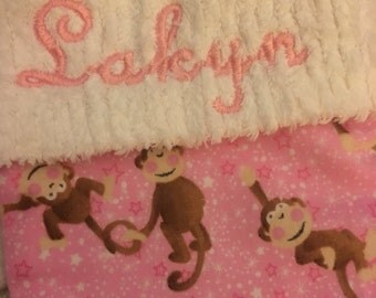 LAST 1! Pink Monkey Tails and Chenille Handmade Christmas Stocking with FREE U S SHIPPING