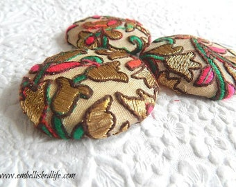 3 beige multi embroidered floral fabric buttons,  1 7/8 inches, 1.9 inches, 4.7 cm, 48.26 mm, size 75 buttons