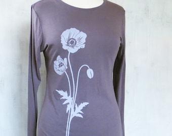 Womens Graphic Long Sleeve TShirt - Bamboo Organic Cotton Tee - Womens Long Sleeve T Shirt - Purple Tee Shirt - Screen Printed Poppy T Shirt