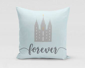 Salt Lake City Temple Throw Pillow Cover - Forever - Customized Twill Pillowcase - COVER only - LDS Temple