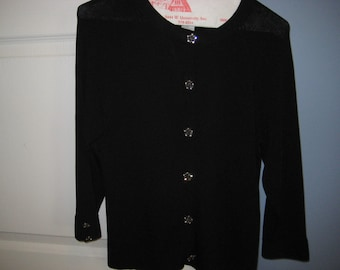 Womans, ladies silky, medium,  black sweater with rhinestone, jelly belly buttons, vintage, NICE