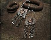 E1517 Botanical Copper hoop style earrings