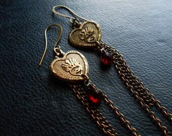 passion of lovers - vintage sacred heart repurposed vintage ruby rhinestone earrings tassel earrings gift for girlfriend anniversary gift