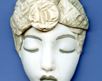 Polymer  Clay Faux Marble Art Nouveau Textured Face Cab  2  Inches   MGAN 3