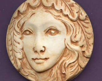 Polymer  Clay Faux Marble Art Nouveau Goddess Cab  NSPF1 2