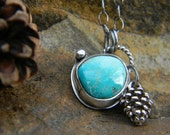 Winter Pinecone Necklace - Royston Turquoise - sterling silver - oxidized and rustic