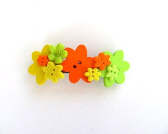Lemon Lime and Orange Button Barrette FREE US Shipping