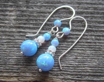 Blue and White Opal Earrings.  Opal Earrings with Opal Sterling Silver Ear Wires.