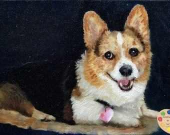 Corgi Pet Portrait I Custom Corgi Pet Portrait  I  Corgi Painting From Your Photo I Dog Portraits by NC