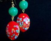 Vintage Japanese Red Green Millefiori Earrings