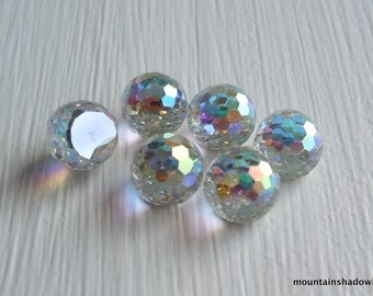 6 Vintage 6mm Swarovski 4861 Flat Back Fireball Crystal AB Comet Argent Light (DR1 - 7)