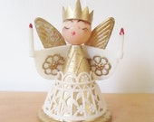 AFTER XMAS SALE vintage crowned angel ornament