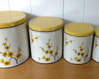 vintage dogwood canister set Decoware