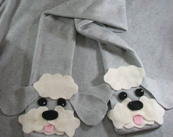 Fleece Sheep Dog Head Scarf in Light Gray Ready To Ship