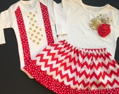Christmas SIBLING SET..Brother sister set..outfit and tie onesie or T-shirt... in red chevron