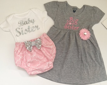 BIG Sister BABY Sister OUTFITS .. Shabby chic Pink and grey with silver accent -sister Set..new baby , baby shower