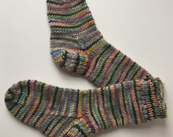 Handknit Socks for Toddlers or Children in Fun Stripes Pattern