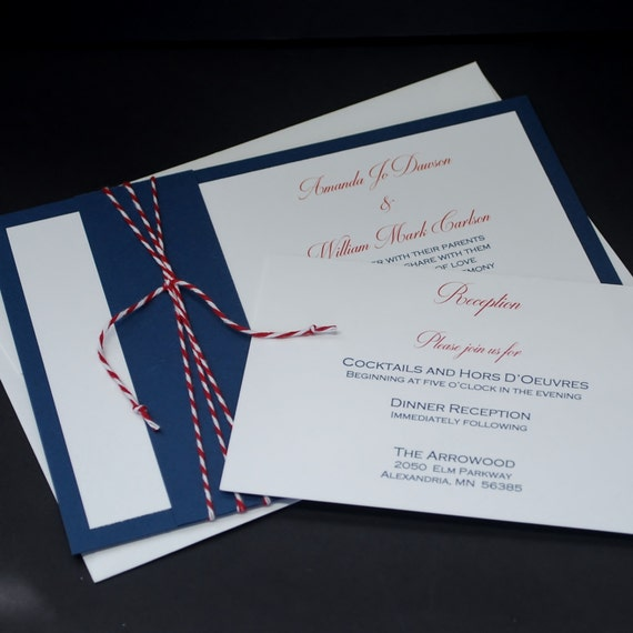 Nautical Navy, wedding invitation sample set, red, white, blue, bakers twine, patriotic, nautical, 4th of July, Americana, wedding suite