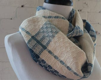 Ecofriendly Lightweight Scarf Cotton Tencel in Teal Cream Light Blue Handwoven Sustainable