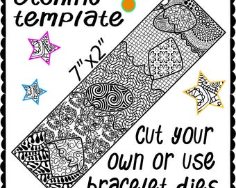 Etching Metal template, make your own design shaped cuff bracelet, Digital Download -DT-swa-4/21-1