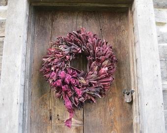 INDIAN CORN HUSK Wreath with all Purple Husks Standard Size