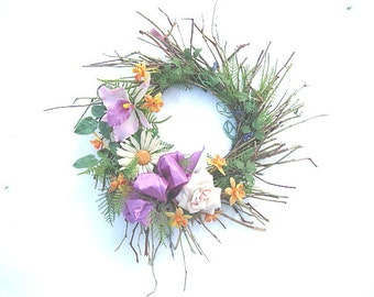 IDA  WREATH   Twigs and VINTAGE plastic flowers for Spring