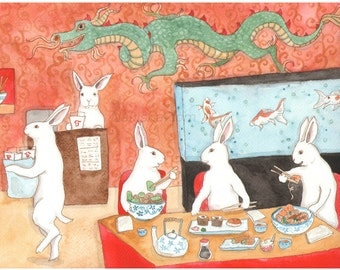 RESERVED for LS - Original Art - Sushi and Noodles - Watercolor Rabbit Painting