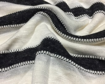 Sweater Hacci Knit 1-5/8 Yards Stripe Stitching Design
