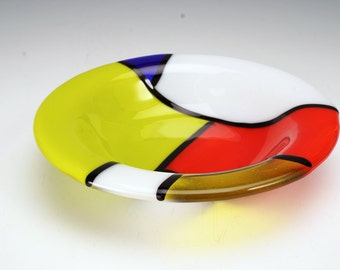 modern art glass bowl, midcentury modern, modern art, fused glass modern bold, Mondrian inspired bowl