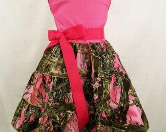 Pink Camo Jumper Dress, Toddler Big Girls Dress, Girls Clothing, Handmade Dress, Made in the USA, #12
