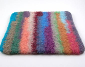 Felted wool trivet - felted hot pad - striped trivet - multicolored