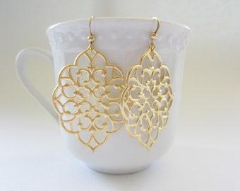 Matte gold filigree earrings, gold earrings, silver filigrees, laser cut earrings, moroccan earrings, persian jewelry, delicate earrings