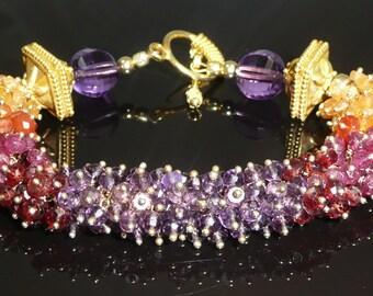 The Endowment bracelet - amethyst, garnets, red spinel, carnelian, quartz and vermeil