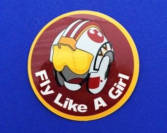 Fly Like A Girl Vinyl Sticker - Rebel Helmet - Star Wars: The Force Awakens Rey Sticker
