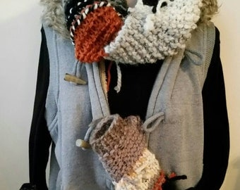 Hand knit Boho Cowl and Fingerless Gloves Set FREE Shipping in USA