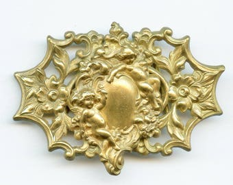 Antique Victorian CUPID CHERUB Two Piece Brass Belt Buckle Vintage 3586