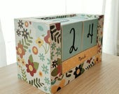 Perpetual Wooden Block Calendar, Pretty Country Flowers, Country Cottage, Country Farmhouse Chic, Gifts for Her, Gifts for 20, Mothers Day