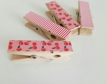 Magnets - Set of 4 - Retro Kitchen Cherries and Stripes - Clothespin Clips - Hostess Gift - Ready To Ship - Valentines Day
