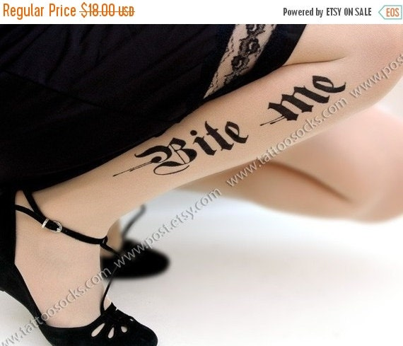 Yay-HolidaysSale:))) sexy HALLOWEEN BITE ME tattoo thigh-high stockings ultra pale