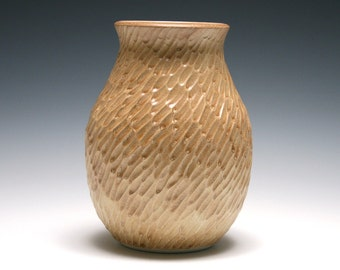 Gold Vase, Hand Carved Vase, Ginger Gold Glaze, Handmade Pottery, Home Decor, Ceramic Vase