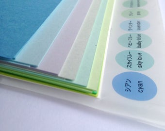 stationary paper set ++ 44 sheets color rainbow ++ craft cardstock ++ japanese stationary ++  scrapbooking supplies ++ diy