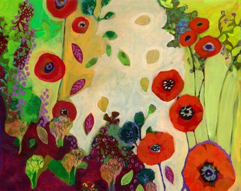 The Unexpected Poppies, floral abstract Print by Jenlo