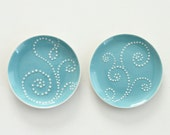 RESERVED Set of 2 Porcelain Ring Dishes in Sky Blue
