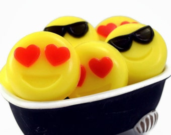 Emoji Soaps, 2 Small Guest Soap Bars, Emoji Party Favors
