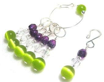 Stitch Markers for Knitting or Crochet, Customizable with Removable Hooks or Rings, Katie