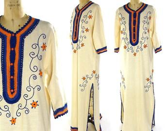 70s Boho Maxi Dress Vintage 1970s Crochet Trim Embroidered Colombian Caftan Ethnic Tribal South American Hippie Bohemian Festival Dress S M