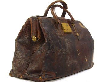 Antique 1910s Antique Leather Doctor Bag Vintage Distressed Brown Ostrich Suitcase Travel Train Case Small Steampunk Weekender Overnight Bag