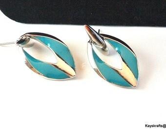 Turquoise Enamel Earrings, Blue Silvertone Drop Earrings, Vintage Blue Earrings, 1970 Art Deco Earrings, Christmas Gift