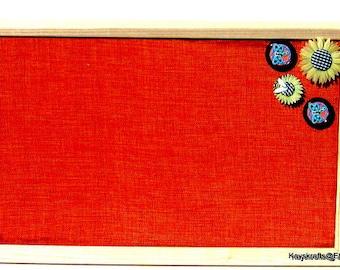 Orange Papaya Burlap Framed Cork Board, Cork Bulletin Board,  Pin Board 17X11 Tack Board with  Button Tacks Push Pins Cork Organizer Board