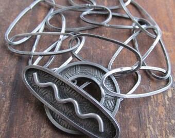 Chunky Silver Bracelet Heavy Toggle Bracelet Chunky Chain Link Wrap Bracelet Sterling Silver Funky Silver Jewelry Toggle Clasp